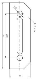 Plech ochranný pod Bezpečnostní kování š=95 mm