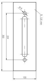 Plech ochranný pod Bezpečnostní kování š=100 mm